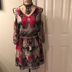 Venus cold shoulder paisley mini dress